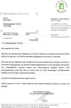 Brief von Wiener Wohnen Sheet Music, Homes, Music Sheets