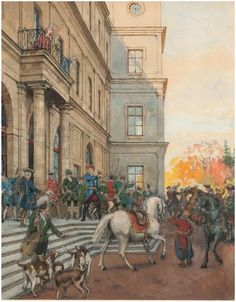 Александра Николаевич Бенуа (1870-1960). Граф Орлов выезжает из Гатчины.