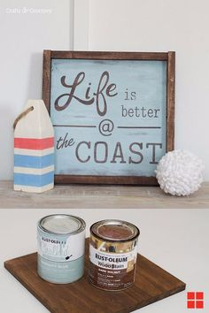 Would you rather be at the beach? This DIY coastal sign is just the shabby chic decor you need to give any room a seaside cottage vibe. Just grab a can of Rust-Oleum Chalked Paint in Serenity Blue and Dark Walnut Wood Stain to get started! #DIYsummerhome