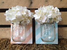 Striped Mason Jar Wall Decor,YOU PICK COLOR,Mason Jar Wall Decor,Wall Hanger,Rustic Home,Shabby Chic Rustic Wall Decor,Mason Jar Wall Sconce by LacyBellesBoutique on Etsy https://www.etsy.com/listing/195502852/striped-mason-jar-wall-decoryou-pick