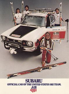 Subaru: Official Car of the 1977 US Ski Team - my parents insisted on buying this car to the embarrassment of us kids ; Alpine Skiing, Snow Skiing, Nordic Skiing, World Cup Skiing, Vintage Ski Posters, Ski Racing, Subaru Cars, Ski Gear, Subaru Outback