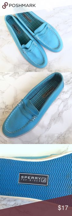 Blue Sperry Top-Sider shoes size 7.5 Bought these awhile back but couldn't fit them because they're a size too big. Normally I'm a small size seven but these fit like a small size 8 Sperry Top-Sider Shoes Flats & Loafers