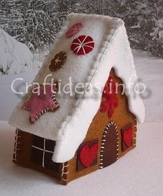 How to Make a Felt Gingerbread House @Craftideas.info: For those who do not like to bake, this is a delicious looking but calorie free version of a gingerbread house that you can make for the holidays. If you have kids, you can also get them involved cutting out the pieces and hand stitching them on if they are able to sew. Another advantage of this house is that it will last for years!