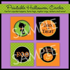 Printable Halloween Party Circles... use to make cupcake toppers, favor tags, treat toppers, napkin rings, placecards, invitations, party menus, thank you cards and so much more!