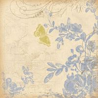 K and Company - Blue Awning Collection - 12x12 Paper - Flowers and Butterfly at Scrapbook.com $0.56