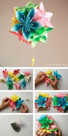 Cómo hacer esfera colgante flores de papel - PAPELISIMO Paper Flower Ball, Paper Flowers Craft, Paper Roses, Flower Crafts, Diy Flowers, Fabric Flowers, Origami Easy, Origami Paper, Diy Paper