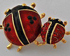 LADYBUG Figural Brooch pin Red black Enamel Rhinestone bug jewelry