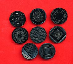 Antique Victorian Black Glass Buttons - Patterns - 1 Inch - CLEARANCE LOT of 8 by AnnieFrazier on Etsy