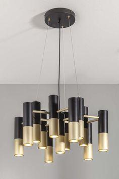 Sabeen suspension lamp brushed brass - black matt lacquered