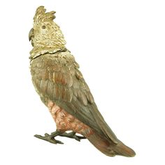 A cold painted Vienna bronze Cockatoo inkwell, H. 7 inch.