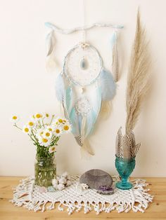 Dreamcatcher - White Dreamcatcher Boho - Blue Dreamcatcher - Feather Dreamcatcher - Boho Decor - Bedroom Decor - Magic dreamcatcher
