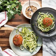 All of the flavour without the calories! Delicious and healthy Meatballs seasoned with an easy parsley pesto and served over Zpaghetti!