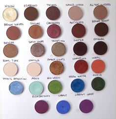 MaC: the best colours  (Nylon, Espresso, Twinks, Naked Lunch, All That Glitters, Brown Scripts, Texture, Cranberry, Antiqued, Brown Down, Bronze, Satin Taupe, Tempring, Sketcs, Embark, Blanc Type, Vanilla, Amber Lights, Coppering, Coral, Moon's Reflection, Aqua, Bio Green, Fresh Water, Humid, Plum Dressing, Cobalt, Vibrant Grape)