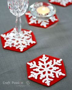 Need some festive drink coasters for a dinner party? These snowflakes Coasters are definitely your first choice to crochet.Skill: IntermediateEstimated Time Needed: 2 hourSpecial Skill Required: Crochet Crochet Snowflake Pattern, Crochet Snowflakes, Crochet Stitches Patterns, Thread Crochet, Crochet Crafts, Free Crochet, Crochet Coaster, Crochet Ideas, Crochet Projects
