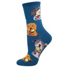 Fetch, Fido, fetch! These blue crew socks are covered with the cutest canines ready to play ball. 63% cotton, 34% nylon, 3% spandex.