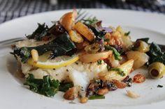 salt cod with kale, pine nuts and golden raisins