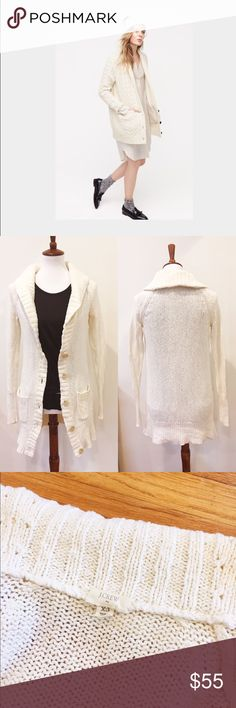 """J Crew cable knit cardigan sweater Comfy and classic cardigan from J Crew. Cotton. Front pockets. No condition issues. Oversize buttons. Oversize collar. Machine washable. Length from shoulder is about 32"""". Armpit to armpit flat is about 18"""". J. Crew Sweaters Cardigans"""