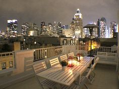 Midtown Manhattan apartment rental - Private Balcony at night time