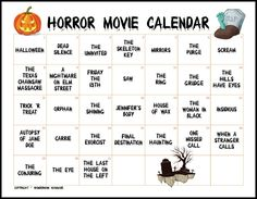 Print off this ultimate horror movie calendar and countdown to Halloween with scary movies! Print off this ultimate horror movie calendar and countdown to Halloween with scary movies! Halloween Movies To Watch, Halloween Movie Night, Scream Halloween, Holidays Halloween, Halloween Fun, Halloween Desserts, Halloween Activities, Halloween Horror, Scary Movie List