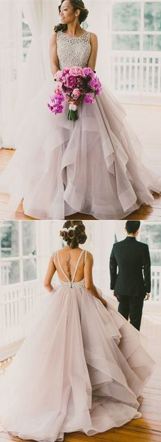 Wedding Dress,Simple Bridal Wedding Dress,ball gown prom dresses,long organza prom gowns by DestinyDress, $227.39 USD
