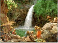 Waterfalls by Fernando Amorsolo Filipino Art, Philippine Art, Philippines Culture, Different Forms Of Art, Filipiniana, Artists Like, Beautiful Paintings, Art Forms, Scenery