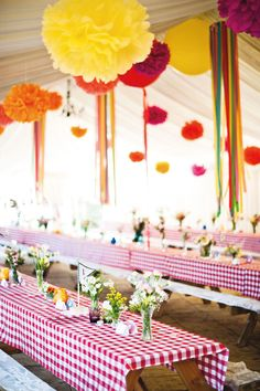 Gingham Wedding Reception but not to the ceiling decor