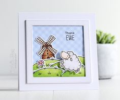 Birdie Brown Ewe Are the Best stamp set and Die-namics, Pierced Square Frames - Michelle Short #mftstamps