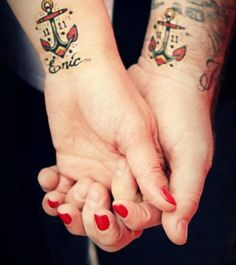 two equal small anchor wrist tattoos witn name inscription - Anchor tattoos gallery