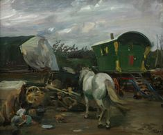 The Caravan Sir Alfred Munnings Alfred Munnings, Gypsy People, Gypsy Wagon, Gypsy Caravan, Gypsy Life, Gypsy Soul, Royal Academy Of Arts, English Artists, Equine Art