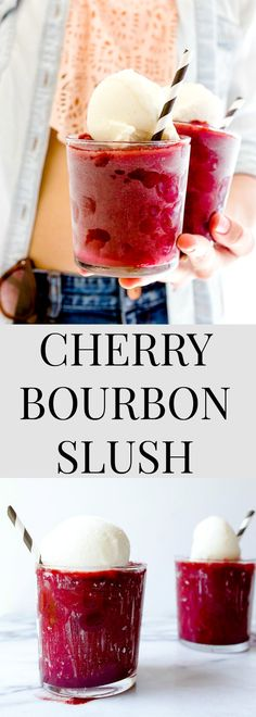 Boozy whiskey slush made with Bourbon whiskey, frozen cherries and a scoop of ice cream on top. Cherry Vanilla Cream Bourbon Slushie by @dessertfortwo.