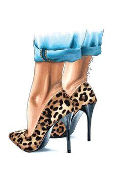 Fashion Illustration Shoes, Illustration Mode, Illustrations, Fashion Artwork, Fashion Wall Art, Black Girl Art, Art Girl, Mode Chanel, Leopard Heels