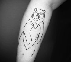 Bear tattoo by Mo Ganji One Line Tattoo, Tattoo For Son, Line Art Tattoos, Large Tattoos, Unique Tattoos, Body Art Tattoos, Tatoos, Animal Tattoos For Men, Tattoos For Guys