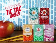 Back-To-School Tic Tac Craft! Use these free labels to create fun and cute gifts for your kids' teachers for back to school season. Simply print the labels, cut, and glue onto Tic Tac packages.