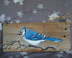 Blue Jay authentic barnwood rustic hand painted von SuzysSantasetc