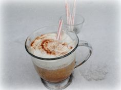 Create your Peppermint Mocha treat at home.   1. Start with our Mocha Mint coffee (beans or ground) 2. Add your own whipped cream (try home made it is super simple and much healthier) 3. Sprinkle cocoa powder or go all out and pour on chocolate syrup. 4. Add a min candy cane while it's hot  Walla, you have made your Mocha treat at home for a fraction of the cost and you do not have to brave the cold weather or clean off your car.  Our coffee breaks down to $.29/cup