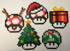 Set of 5 Mushroom Christmas tree ornaments perler beads by AlientonxPerlers