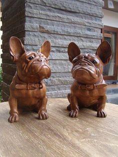 Wood Carved French Bulldog, ❤ https://www.facebook.com/photo.php?fbid=1761797607168923