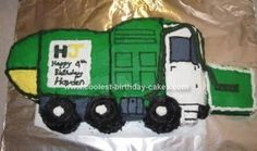 Homemade Garbage Truck Birthday Cake: Like most 4 year old boys, ours is obsessed with Garbage trucks.  He insisted the Garbage Truck Birthday Cake be a green front loader. So, I researched