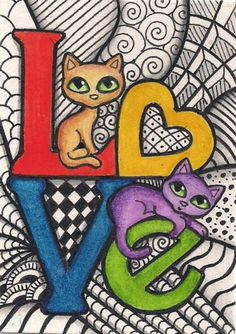 Items for sale by tuffytail - Katzen Mosaic Diy, Cat Crafts, Cat Drawing, Crazy Cats, Cat Love, Doodle Art, Cat Art, Animal Drawings, Cats And Kittens