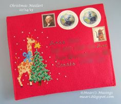Christmas mail art created by Meari. Letters From Home, Mail Art Envelopes, Christmas Mail, Going Postal, Love Notes, Wax Seals, Cross Stitching, Eve, Scrapbook
