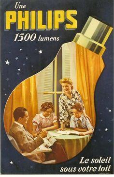 Original Vintage Poster Philips Light Bulb Family C 1940 | eBay
