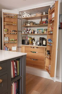 An oak lined pantry to hide all modern appliances in this shaker style kitchen. Slate Appliances, Kitchen Aid Appliances, Kitchen Pantry, Quality Furniture, New Furniture, Shaker Style Kitchens, Orange, All Modern, Kitchen Design