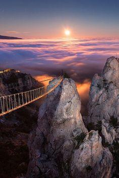 Take a walk in the clouds on the Suspended Footbridge, Crimea, Ukraine