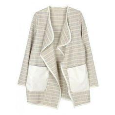Light Grey Long Sleeve Collarless Loose Coat ($47) ❤ liked on Polyvore featuring outerwear, coats, jackets, cardigans, tartan coat, light grey coat, plaid coat, long sleeve coat and women coats