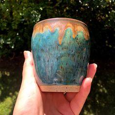 Copper Turquoise Tumbler | Chinook Ceramic Shop, Ceramic Beads, Ceramic Art, Beaded Jewelry, Handmade Jewelry, Porcelain Clay, Antique Lace, Stoneware, Tumbler