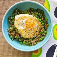Dinner in a pinch - One Pot Veggie Quinoa Bowl with Fried Egg Topper - a delicious improvised meal for a busy weeknight