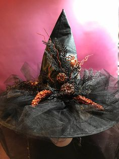 Orange pumpkin witch hat Halloween Tricks, Holidays Halloween, Halloween Outfits, Halloween Diy, Halloween Makeup, Happy Halloween, Halloween Witch Hat, Witch Hats, Holloween Ideas For Kids
