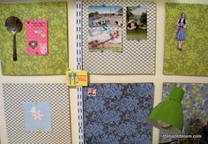 "Awesome cork board idea to make good use of scrapbooking paper. Cork board squares can be purchased in 12""x12"" pieces, just like scrapbooking paper, and then create a custom bulletin area that matches your craft space decor! :-)"