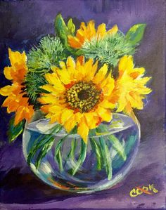 """Ginger Cook 8"""" x 10"""" painting """"Sunflowers in a Transparent Vase"""". YouTube lesson on Tuesday, June 27, 2017."""
