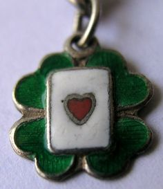 RARE VINTAGE GERMAN SILVER & ENAMEL 'LUCKY' ACE OF HEART CARD IN CLOVER CHARM